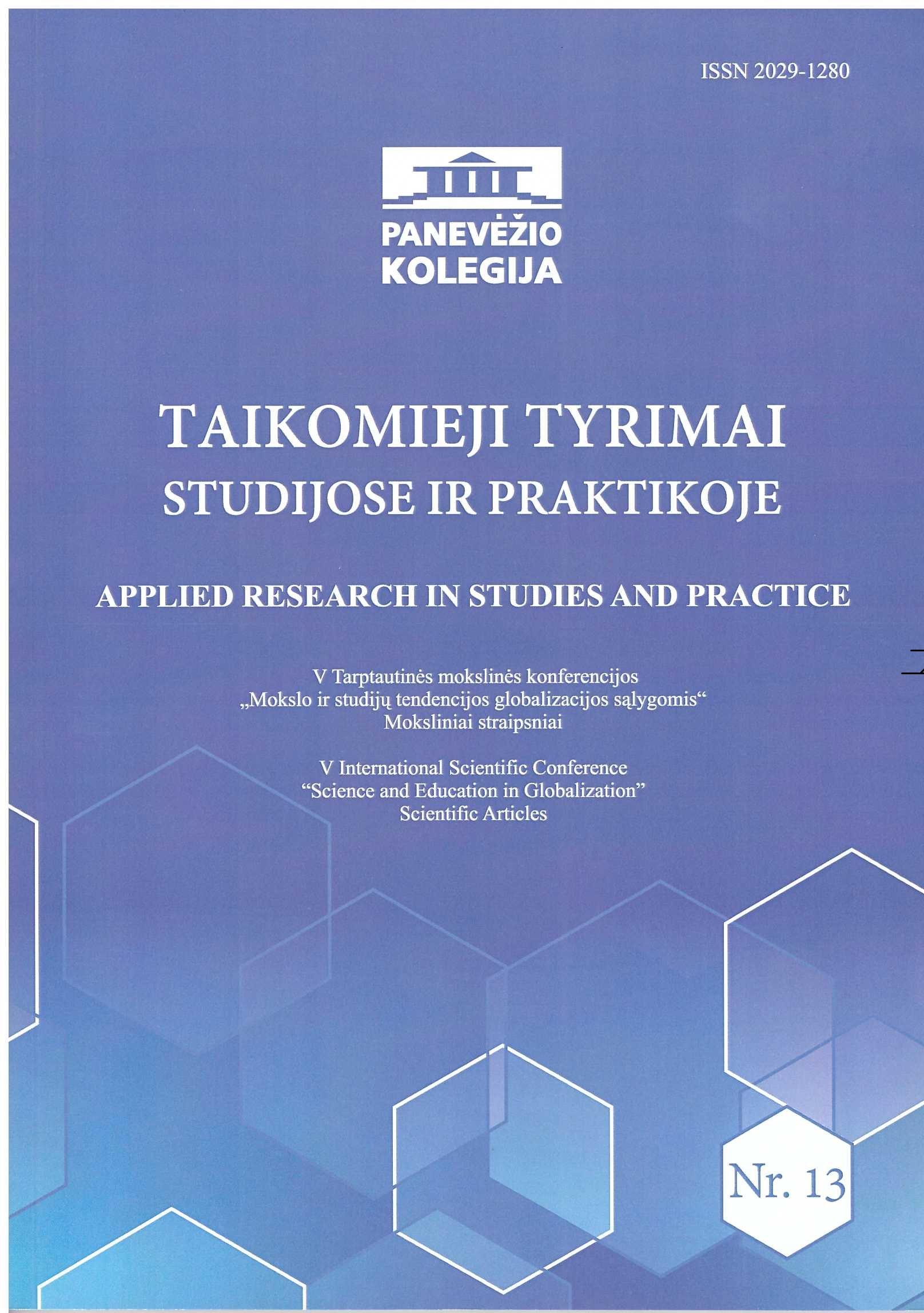 View Vol. 13 No. 1 (2017): Taikomieji tyrimai studijose ir praktikoje - Applied research in studies and practice